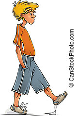 rigolote, marche, boy., adolescent