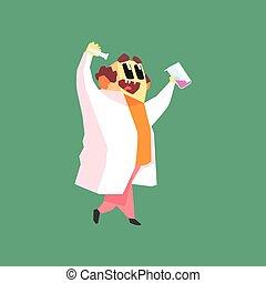 rigolote, marche, manteau, deux, laboratoire, scientifique, eprouvettes