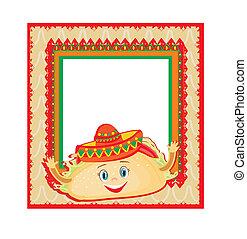 rigolote, mexicain, cadre, caractère, tacos, carte