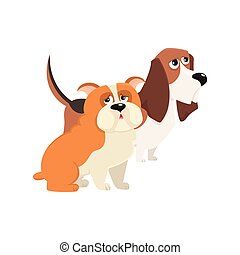 rigolote, mignon, bouledogue, -, chien, jbasset, caractères, anglaise, chien de chasse