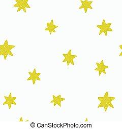 rigolote, modèle, seamless, main, stars., dessiné