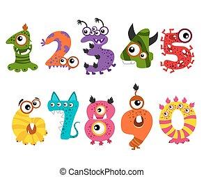 rigolote, monstre, mignon, halloween, vecteur, nombres, fête, événement