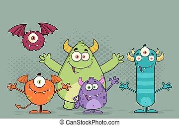 rigolote, monstres, caractères, dessin animé