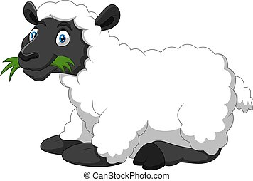 rigolote, mouton, dessin animé, sourire