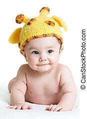 rigolote, nourrisson, garçon, isolé, bébé, blanc