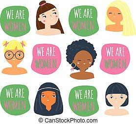 rigolote, nous, femme, slogan, women., femelles, mars, filles, différent, nationalities., conception, 8, faces, international, jour, féminisme, femmes