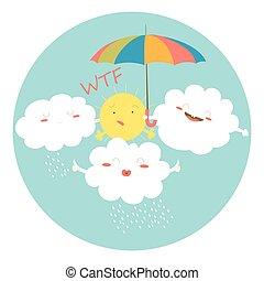 rigolote, nuages, étreindre, soleil