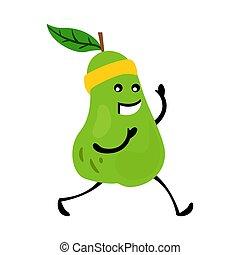 rigolote, nutrition, character., sport, poire, fruit, courant, exercices, sain, fitness, vitaminic, nourriture, vecteur, humain, illustration