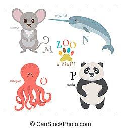 rigolote, o, n, zoo, souris, alphabet, letters., p, poulpe, m, narwhal, dessin animé, animals., panda