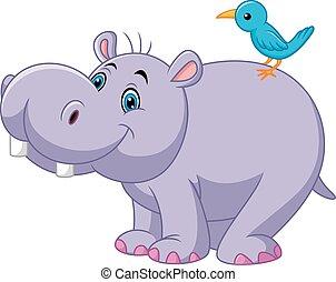 rigolote, oiseau, hippopotame, dessin animé