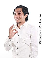 rigolote, ok, projection, signe, homme asiatique