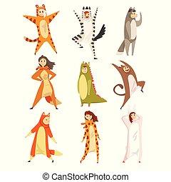 rigolote, ou, animal, gens, costumes, hommes, collection, kigurumis, vecteur, illustration, fond, amusement, blanc, femmes, avoir, jumpsuits