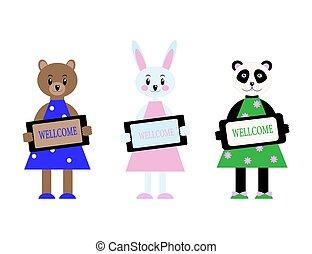 rigolote, panda., mignon, garder, animaux, dessin animé, plaque., illustration, plat, wellcome, style., vecteur, caractères, ensemble, ours, lièvre