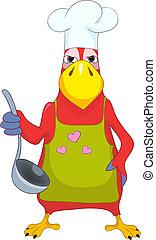 rigolote, parrot., cook.