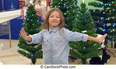 rigolote, peu, arbres, danses, supermarché, fond, girl, noël