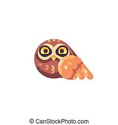 rigolote, peu, brun, hibou, plat, mignon, icône
