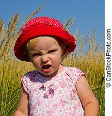 rigolote, peu, figure, émotif, girl, expression