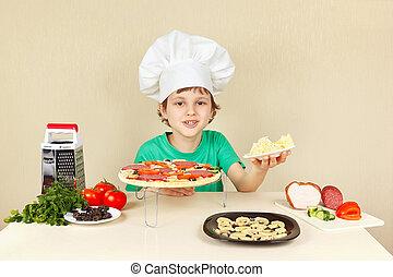 rigolote, peu, fromage, chef cuistot, râpé, pizza