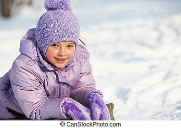 rigolote, peu, hiver, girl