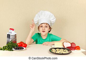 rigolote, peu, ingrédients, chef cuistot, table, pizza