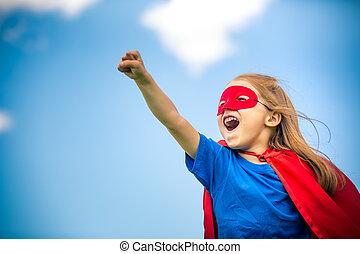 rigolote, peu, puissance, hero., girl, super, jouer