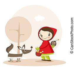 rigolote, peu, rouges, équitation, dessin animé, capuchon
