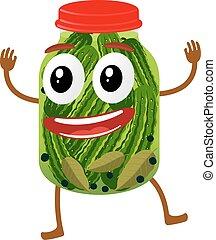 rigolote, pickles, pot, verre, caractère