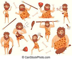 rigolote, pierre, préhistorique, cavemen, ensemble, situations, âge, caractère, différent, illustration, isolé, vecteur, fond, blanc, primitif, dessin animé, homme