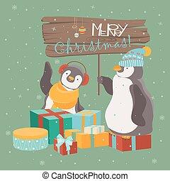 rigolote, pingouins, amis, noël, célébrer