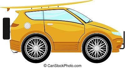 rigolote, planche surf, voiture, dessin animé