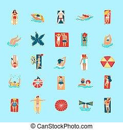 rigolote, plat, icônes, gens, collection, plage