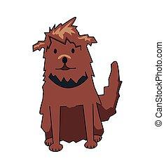 rigolote, poilu, cabot, plat, chouchou, character., chien, isolé, arrière-plan., vecteur, collar., blanc, sourire, dessin animé, illustration.