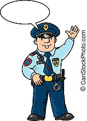 rigolote, policeman., vecteur, enfants, illustration