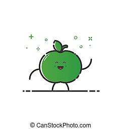 rigolote, pomme, caractère, isolé, illustration, dessin animé, vecteur, ligne, style.
