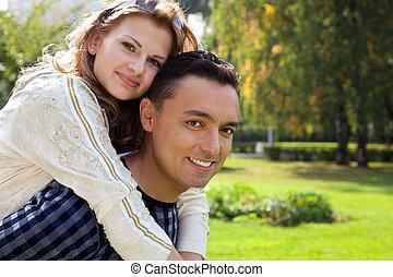 rigolote, portrait, de, couple marié