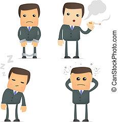 rigolote, poses, divers, dessin animé, homme affaires