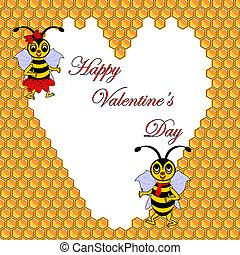 rigolote, postcard., entouré, deux, illustration, jour, coeur, valentine, abeilles, honeycombs., vector-art, dessin animé
