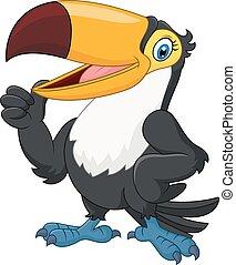 rigolote, pouce, donner, u, toucan, dessin animé