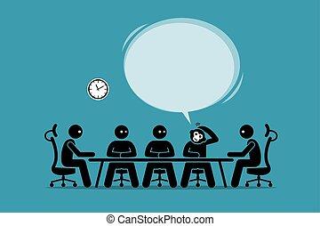 rigolote, quelque chose de louche, idée, conversation, humans., suggérer, homme affaires, réunion, sien