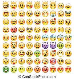 rigolote, résumé, ensemble, emoticons., emoji