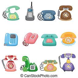 rigolote, retro, dessin animé, téléphonez icône, ensemble