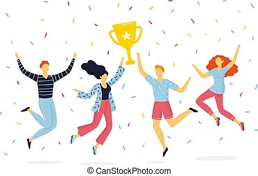 rigolote, reussite, concept, groupe, cup., gens, joie, association, haut, sauter, enjôleur, collaboration, hand-drawn, lifestyle., tenue, actif, ou, heureux