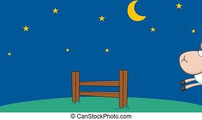 rigolote, sauter, mouton, nuit, trois, sur, barrière