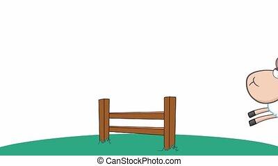 rigolote, sauter, mouton, trois, sur, barrière