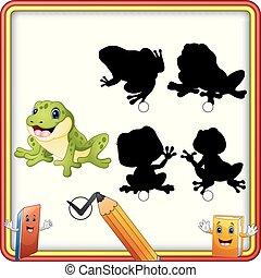 rigolote, shadow., trouver, enfants, jeu, frog., dessin animé, education, correct