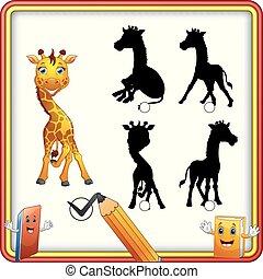 rigolote, shadow., trouver, enfants, jeu, giraffe., education, correct, dessin animé