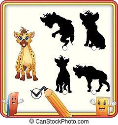 rigolote, shadow., trouver, enfants, jeu, hyena., dessin animé, education, correct
