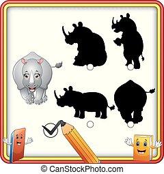 rigolote, shadow., trouver, enfants, jeu, rhino., dessin animé, education, correct