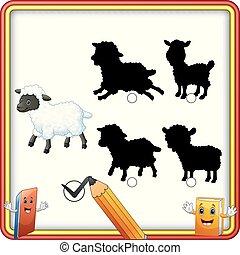 rigolote, sheep., shadow., enfants, trouver, jeu, dessin animé, education, correct
