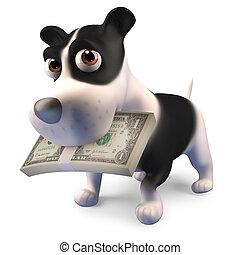 rigolote, sien, chiot, bouchon, chien, illustration, bouche, a, dessin animé, 3d